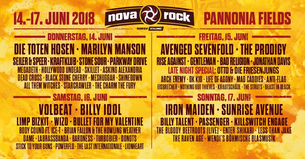 Nova Rock Festival 2018 - Tageslineup
